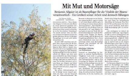 Mit Mut und Motorsäge  Schwäbische Zeitung Lokales