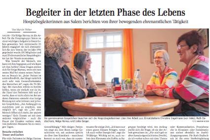 Begleiter in der letzten Phase des Lebens   Schwäbische Zeitung Lokales