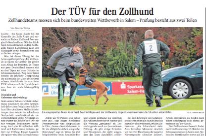 Der TÜV für den Zollhund   Schwäbische Zeitung Lokales
