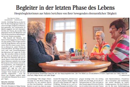 Begleiter in der letzten Phase des Lebens | Schwäbische Zeitung Lokales
