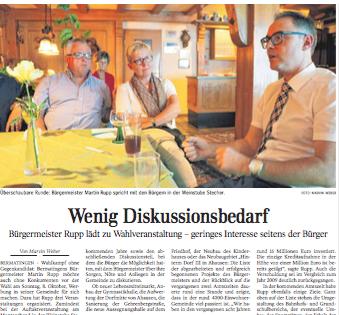 Wahl ohne Kampf |Schwäbische Zeitung Lokales