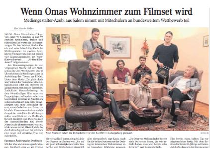 Wenn Omas Wohnzimmer zum Filmset wird | Schwäbische Zeitung Lokales